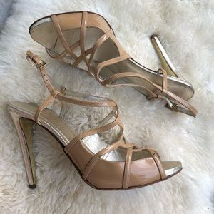 Valentino nude patent leather straps heels sandals